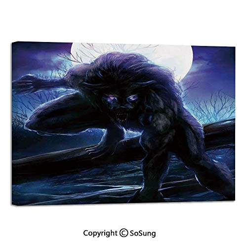 Canvas Prints Modern Art Framed Mural Surreal Werewolf with Electric Eyes in Full Moon Transformation Folkloric Wall Decorations for Living Room Bedroom Dining Room Bathroom 30x48inch Purple Blue
