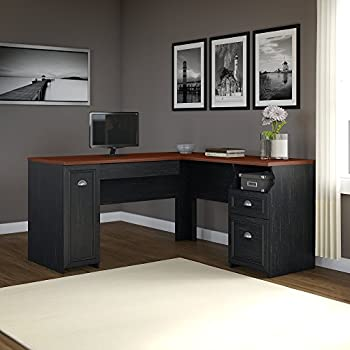 Fairview L Shaped Desk in Antique Black