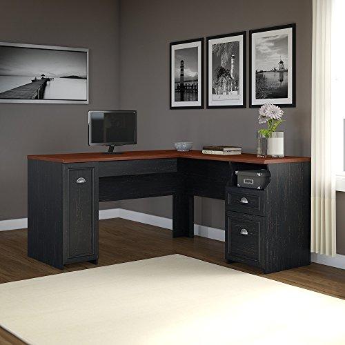 Fairview L Shaped Desk in Antique Black
