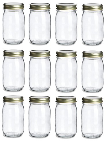 Nakpunar 12 pcs 16 oz Mason Jars with Gold Lids - 1 Pint (16 oz, Gold) -