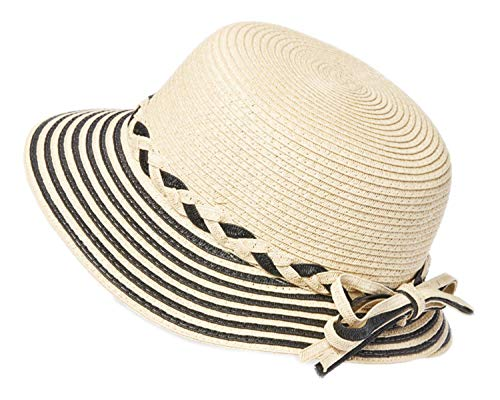 Striped Summer Straw Short Brimmed Cloche w/Braided Headband, Bucket Hat for Ponytail, Sun Protection Cap UPF 50 (Black)