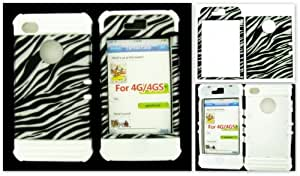 APPLE IPHONE 4 4S 4G CASE ZEBRA LTRDE083 HYBRID WHITE SILICONE COVER