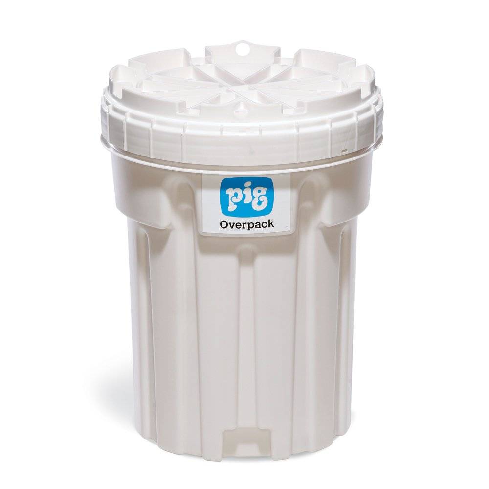 New Pig Overpack Salvage Drum, Unlined, Open-Head, 30 Gallon, 23'' Dia x 30'' H, White, PAK709-WH