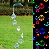 DSstyles 1/2Pcs Wind Chime LED Hanging Pendant Lamp Solar Energy Powered Light Outdoor Color Changing Decoration for Garden Courtyard Porch Creative