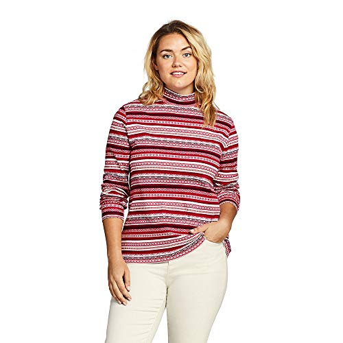 Interlock Turtleneck Mock Ladies (Lands' End Women's Plus Size Relaxed Cotton Mock Turtleneck, 1X, Cherry Jam Fairisle)