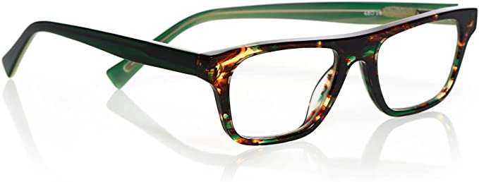 Green Tortoise and Green eyebobs Fare n Square Unisex Premium Reading Glasses 3.00 Magnification