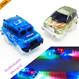 Car Tracks,(2-Pack)Light Up Green Military Jeep and Blue Police Car,5 LED Lights,Compatible with Most Tracks,Perfect Gift for Boys & Girls