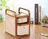 Makeup Organizer 3-Tier Bamboo Jewelry Case Waterproof Oxford Desk Storage 23cm18.5cm34.2cm(Beige)