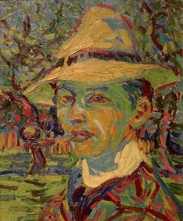 Kunst für Alle Impresión artística/Póster: Ernst-Ludwig Kirchner Self-Portrait with Pipe - Impresión, Foto, póster artístico, 70x85 cm
