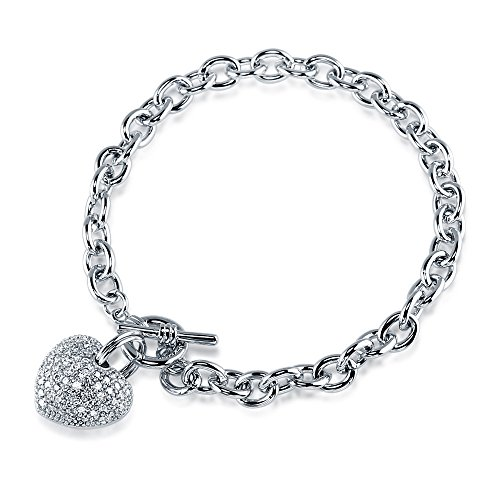 BERRICLE Rhodium Plated Base Metal Cubic Zirconia CZ Heart Toggle Fashion Charm Bracelet 7