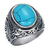 Dixinla Rings Steel , European and American Punk Vintage Titanium Steel Inlaid Turquoise Men's Carved Ring Jewelry Gift for Family or Friends