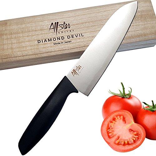 Santoku Knife Japanese Kitchen knives - Premium Titanium Silver Sharp 7