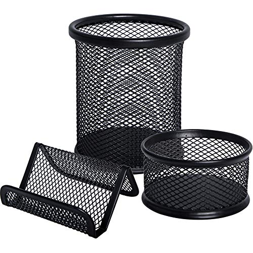 JPSOR 3 Pack Mesh Pencil Pen and Metal Business Card Holder - Black Business Card Pencil Pen Cup Paper Clip Organizer for Desk Office and School