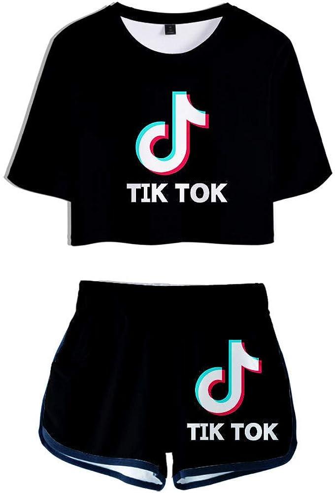 HGUIAZ TIK TOK Imprimiendo Camisetas Y Pantalones Cortos Traje De Dos Piezas Para Ni/ñas Y Mujeres Ropa Deportiva Ropa Corta