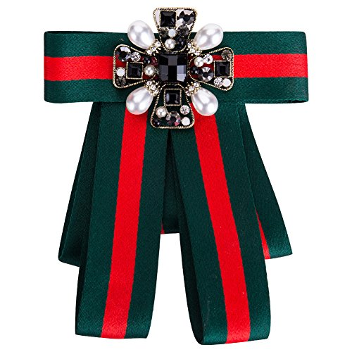 Tinsley Designer Rhinestone Pre-Tied Ribbon Bow Tie for Women Bowknot Brooches Dress Jewelry Necktie ()