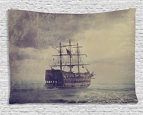 Gray Tapestry Wall Hanging by Ambesonne, Old Pirate Ship in the Sea Historic Legend Cruise Retro Voyage Grunge Style, Bedroom Living Room Dorm Decor, 60 W X 40 L Inches, (Female Pirates Pictures)