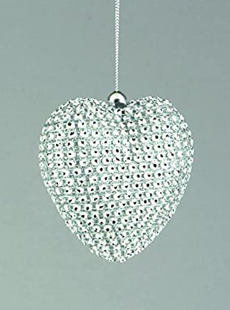 set of 3 80mm christmas decorations silver diamante heart baubles amazoncouk kitchen home - Silver Christmas Decorations Uk