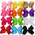 12PCS 6 Inch Baby Girls Big Huge Grosgrain Ribbon Boutique Hair Bows Alligator Clips Head Headbands For Teens Babies Toddlers Children Newborn Infant Kids