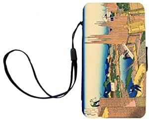 Rikki Knight™ Katsushika Hokusai Art The Timberyard at Honjo Galaxy S3 i9300 PU Leather Wallet Type Flip Case with Magnetic Flap and Wristlet for Samsung Galaxy S3