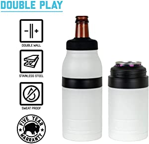 BISON COOLERS 2 in 1 Can & Bottle Insulated Cooler Thermos | Vacuum Insulated Stainless Steel Beer Bottle/Can Cooler 12 oz (Double Play) (White)