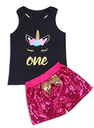 ChicNChic Baby Girls Sleeveless Shorts Set Unicorn Letter Print Vest Tops Sequins Pants Outfits (3T, Black)