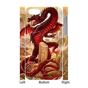 3D Bumper Plastic Case Of Red Dragon customized case For Iphone 4/4s by supermalls