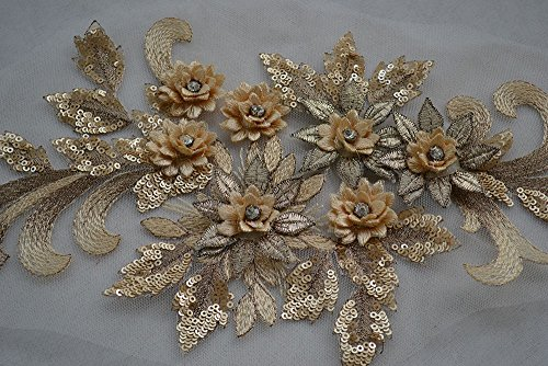 Elegant 3D floral applique,Beaded,Sequined,Flower Patches Lace Appliques Sewing on Costume Evening dress,15.7x 6.7 inch,Gold - Gold Beaded Flowers