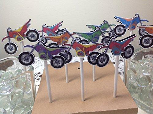 Just 12 Motocross, Motorcycle, Dirt Bike Cupcake Toppers