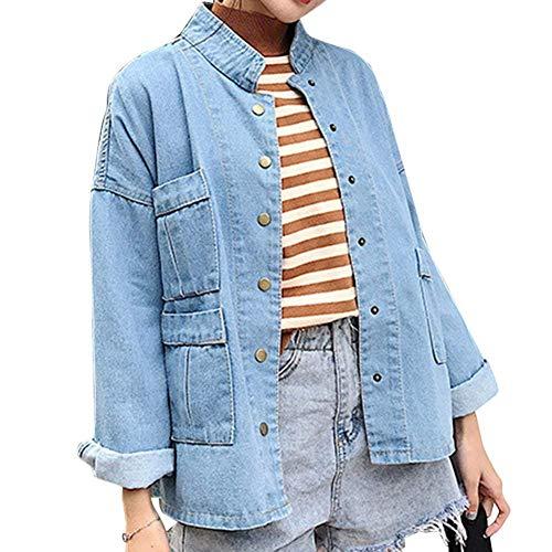 Giorno Breasted Jeans Hellblau Stile Primaverile Marca Eleganti Moda Single Giacca Autunno Fidanzato Maniche Distressed Lunghe Cappotto Mode Donna Giacche Tempo Libero Di Relaxed xnRB7rn