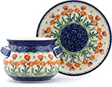 Polish Pottery 15 oz Bouillon Cup with Saucer made by Ceramika Artystyczna (Peach Spring Daisy Theme) + Certificate of Authenticity