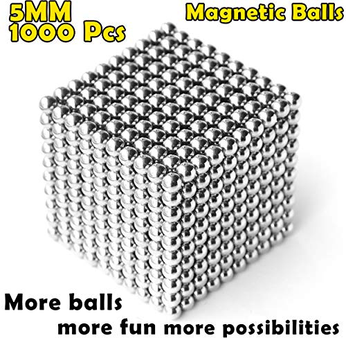 aBrilliantLife 5MM 1000 Pieces Magnetic Balls Toys Sculpture Building Magnetic Blocks Magnets Cube Gift for Intellectual Development -Office Toy Stress Relief Gifts for Teens and Adult-Sliver by aBrilliantLife (Image #7)
