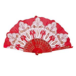 botrong chino/español estilo baile boda fiesta encaje seda flor de mano plegable ventilador