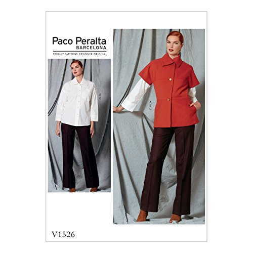 Vogue Patterns V1526 Misses' Asymmetrical Collar Jacket, Drop-Shoulder Shirt, and Straight-Leg Pants Sewing Pattern, Size 14-16-18-20-22