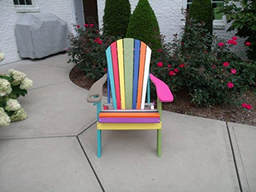Poly Lumber Wood Confetti Folding Adirondack Chair w/ Cup Holder-Purple Arms (Adirondack Lumber Chair Poly)