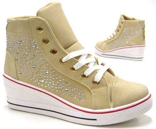 Damen Schuhe Designer Sneaker Stiefelette Beige