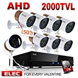 ELEC AHD 720P 2000TVL 8 Channel Video Security System DVR and 8 Weatherproof Indoor/Outdoor 1.3MP CCTV Cameras with IR Night Vision LEDs Remote Viewing,1TB Hard Drive Pre-installed