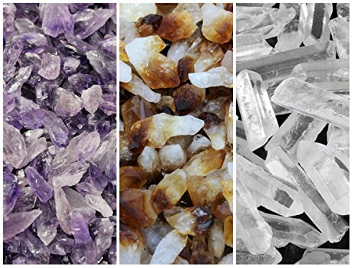 Amethyst, Citrine and Clear Quartz Crystal Points Combo Lot (8 oz, 1/2 lb) by Rainbowrecords239 ()