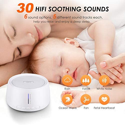 White Noise Machine, MOICO Sound Machines for Sleeping with 30 Non-Looping Soothing Sounds, 20 Levels of Volume, Timer Memory Function, Sleep Machines for Baby Adults Travel Office Privacy