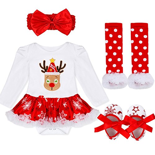 YiZYiF Baby Girl's My First Christmas Costume Party Jumpsuit 4 Pieces Tutu Clothing Set Reindeer 12-18 (Reindeer Baby Costume)
