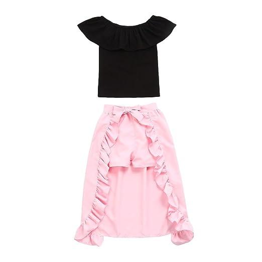 0b2c104ec099 Amazon.com  Lisin Toddler Infant Baby Girls Solid Ruffles Tops Dress ...