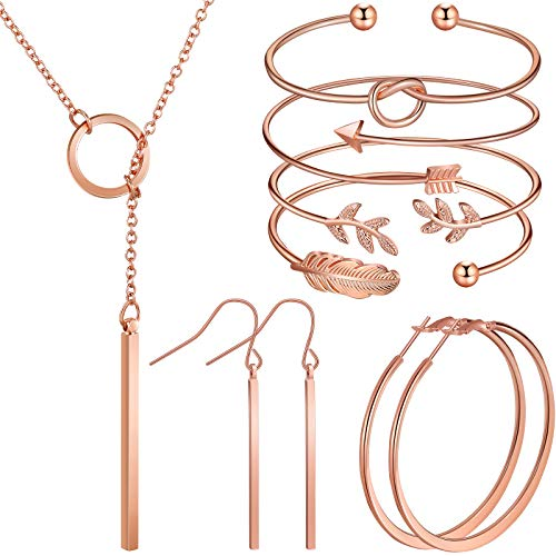 Hicarer Simple Bar Jewelry Set Vertical Bar Necklace Earrings Adjustable Cuff Bracelet