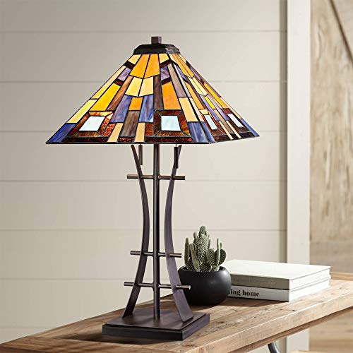 - Jewel Tone Mission Table Lamp Iron Bronze Geometric Stained Glass Art Shade for Living Room Family Bedroom Bedside - Robert Louis Tiffany
