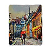 My Little Nest Warm Throw Blanket Oil Painting City Street View Lightweight Microfiber Soft Blanket Everyday Use for Bed Couch Sofa 50'' x 60''