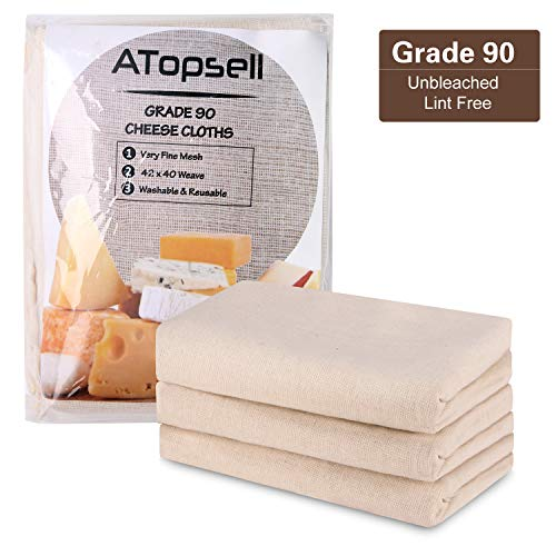 Atopsell Unbleached Cheese Cloths Washable and Reusable Cheese Bags Natural Ultra Fine Cheese Makers for Straining, Cooking,Cheese, Yoghurt and Wine Making,36 Sq Feet (Grade - 90 Wine