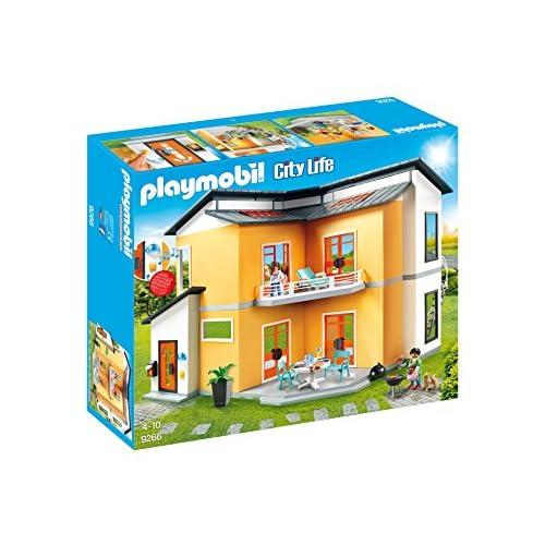 51MQQh7SwzL. SS500 Diversión para los pequeños héroes: PLAYMOBIL Casa Moderna, set de juego con figuras y muchos accesorios para jugar 2 figuras, timbre e iluminación exterior real, escaleras, balcón, terraza, entre otros, espacio para 5 habitaciones, ampliable con el Salón City Life (9267) Juego de figuras para niños a partir de 4 años: óptimo para el tamaño de sus manos y bordes redondeados agradables al tacto