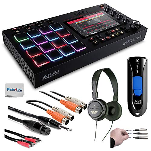 (Akai Professional MPC Live Standalone MPC + Audio-Technica Stereo Headphones + Transcend 32GB JetFlash USB + Cables + Peel-Off Labels + Cleaning Cloth - Deluxe Music Bundle!)