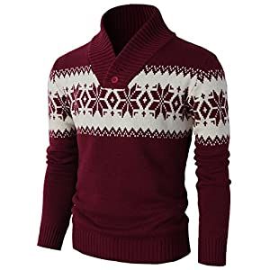 H2H Mens Casual Knitted Pullover Christmas Sweater Shawl Collar With Snowflake Pattern