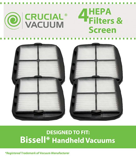 4 HEPA Filters and Pre-Filter Screens for Bissell Hand Vac Auto-Mate, Pet Hair, CleanView Vacuums; Compare to Bissell Part Nos. 2037416, 2031432; Designed & Engineered by Crucial Vacuum