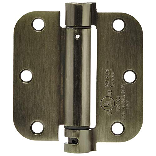 Door Hinges Antique - AmazonBasics Self-Closing Door Hinge, 3.5 Inch x 3.5 Inch, 1 Piece, Antique Brass