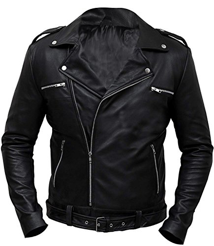 CHICAGO-FASHIONS Negan Jacket Walking Dead S7 Jeffrey Dean Morgan Black Biker Leather Jacket by CHICAGO-FASHIONS